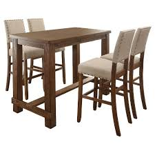 rectangle pub table sets sun pine 5pc rustic bar table set natural tone target
