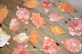 shaving cream marbling autumn leaves the imagination tree