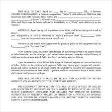 sample equipment bill of sale template 6 free document pdf word