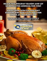 charger cafe offering heat and serve thanksgiving dinner cypress