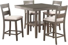 Loft Weathered Grey 5 Piece Counter Height Dining Room Set From
