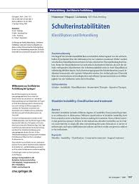 K Hen G Stig Online Planen Schulterinstabilitäten Klassifikation Und Behandlung Pdf