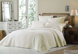 luxury super king size cream quilted embroidered bedspread throw