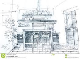 Kitchen Design Sketch Kitchen Design Drawing Stock Photo Image 56547785