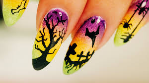 ombre halloween nail art step by step tutorial youtube