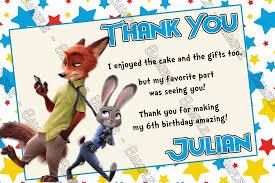 thank you cards novel concept designs disney zootopia birthday party thank