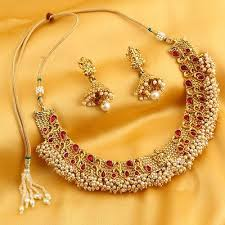trendy necklace sets images Trendy reversable gold plated laxmi design necklace set jpg