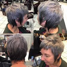 women u0027s silver ombre pixie cut with long shaggy fringe and short