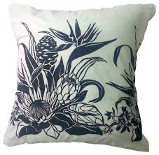 Bird of Paradise Hawaiian Pillow Cover White Black Cover Tropical