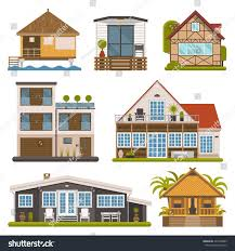 Chalet Houses Rent House Set Modern Apartments Suites Stock Vector 420728899