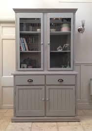 Pine Kitchen Furniture Painted Grey Glazed Bookcase Pine Dresser Larder Kitchen Cabinet Unit