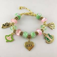 alpha kappa alpha pink and green gold charms bracelet letters