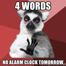 Alarm Clock Meme - 4 words no alarm clock tomorrow chill out lemur meme generator