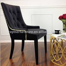 Ring Back Dining Chair Black Velvet Fabric French Button Tufted Gold Back Ring Dining