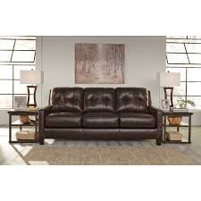 contemporary leather match sofa with tufted back u0026 track arms by
