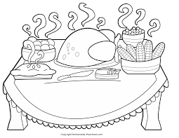 sturdy coloring pages of thanksgiving dinner a table doodle