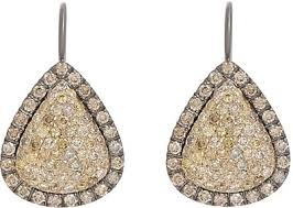 gold teardrop earrings roberto marroni yellow diamond brown diamond oxidized gold