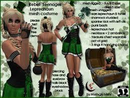 Rebel Halloween Costume Marketplace Rebel Teenager Leprechaun Mesh Rigged