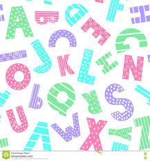 colorful cartoon alphabet seamless pattern stock vector image