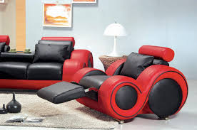 White Leather Recliner Sofa Set by 4088 Contemporary Black And Red Sofa Set
