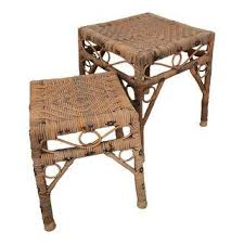 Rattan Accent Table Vintage Used Rattan Side Tables Chairish