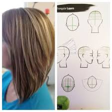 triangular layers section hair into four part sections beginning