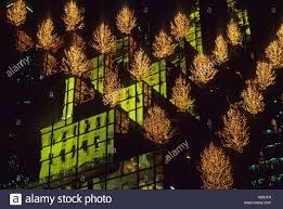 the christmas trees illumination of trump tower in new york u s a