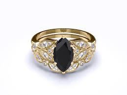 yellow gold bridal sets serenity black white marquise cut diamond gold bridal set