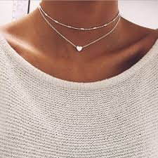 double choker necklace images Silver gold color jewelry love heart necklaces pendants double jpg