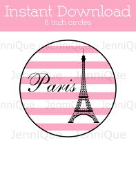 printable 6 inch party cirlces paris theme party cut out