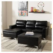 Small 3 Piece Sectional Sofa Kinsley Modern And Contemporary Faux Leather Upholstered 3 Piece