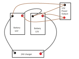 batteries charge at 24v and discharge at 12v for battery system