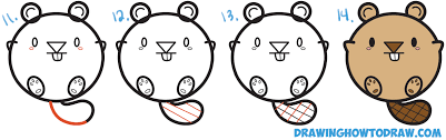 learn how to draw a cute cartoon beaver with letters easy step by