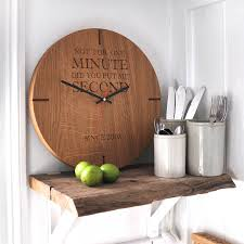 large wall clock large personalised wooden oak wall clock by the oak rope company