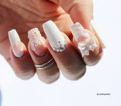 white glam nails with 3d flowers nail art by volish polish