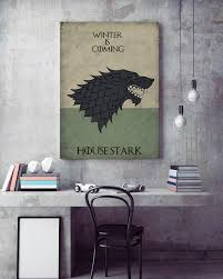 game of thrones poster house stark minimalist art poster