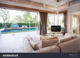 luxury interior design living room pool stock photo 661564942