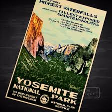 California Travel Stickers images California yosemite map vintage travel poster classic retro kraft jpg