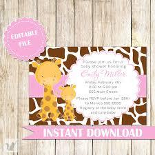 giraffe invitation baby shower pink brown u2013 pink the cat