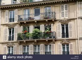 paris apartment building balcony flowers stock photos u0026 paris