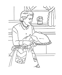 thanksgiving dinner coloring page sheets grandmother cooking