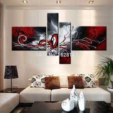 abstract black white red graffiti 4 pieces modern oil painting on