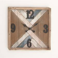 square wood metal wall clock free shipping today overstock