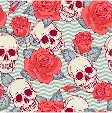 pattern with skulls and roses stock vector xenia ok 62722291