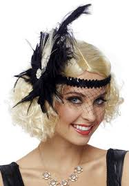flapper headband 1920 s black feather flapper headband with veil candy