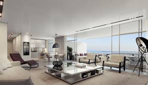 apartments contemporary apartment with grey fabric sofa and stand