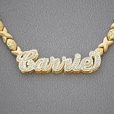 gold custom name necklace xo chain 10kt gold personalized name necklace pendant