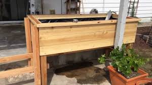 Standing Planter Box Plans by Elevated Wicking Bed Youtube
