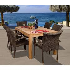Wicker Patio Furniture Amazonia Brussels 7 Piece Teak All Weather Wicker Patio Dining Set