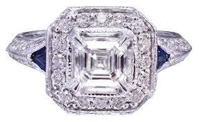 asscher cut diamond engagement rings 18k white gold asscher cut diamond engagement deco ring 1 50ctw h
